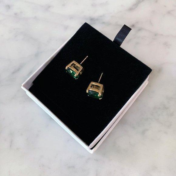Kate Spade Round Cut Earrings, Emerald Green
